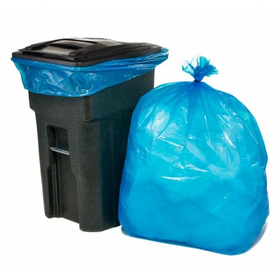 65 Gallon XTall Blue Recycling Bags for Toter Trash Cans